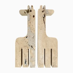 Giraffe Travertine Bookends from Fratelli Mannelli, 1970s, Set of 2