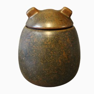 Vintage Ceramic Lidded Jar with Dark Brown Glaze by Erik Rahr for Saxbo