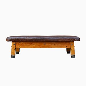 Large Gymnastics Leather Bench, 1930s
