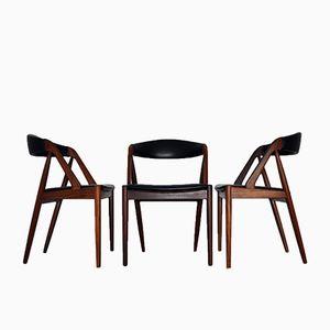 Chaises de Salon Modèle 31 par Kai Kristiansen pour Schou Andersen, Set de 3