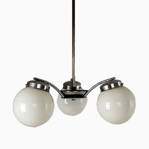 Czech Art Deco Chromed Metal & Glass Pendant Lamp from Napako