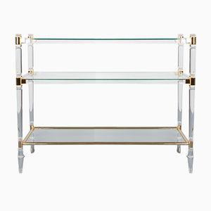 Console Table in Lucite Glass & Gold Brass by Romeo Rega, 1970