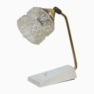 Lampada da comodino in vetro ed ottone di Temde Leuchten, Germania, anni '50