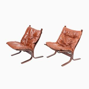 Norwegian Siesta Bentwood and Leather Lounge Chairs by Ingmar Relling for Westnofa, 1960s, Set of 2