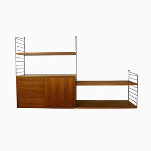 Teak Wall Shelf with Drawers by Nisse Strinning for String Design AB, 1950s