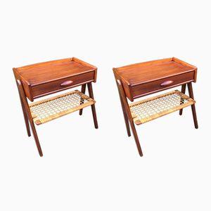 Danish Teak & Wicker Bedside Tables, 1960s, Set of 2