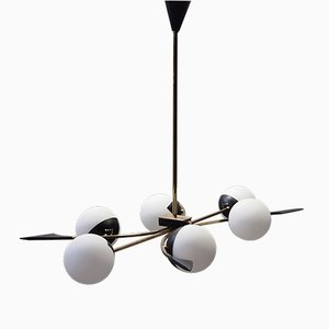 Suspension en Laiton & Verre Opalin, Italie, 1950s
