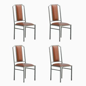 Vintage Dining Chairs In Leather U0026 Brushed Metal From Maison Jansen, ...