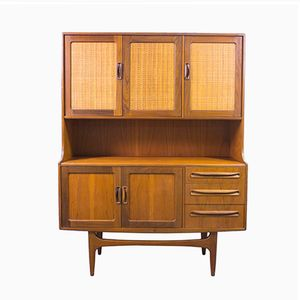 Vintage Teak and Rattan Highboard by Victor Wilkins for G-Plan