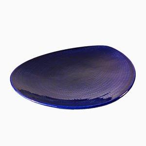 Blaue Mid-Century Keramik Bla Eld Schale von Hertha Bengtsson für Rörstrand