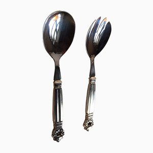 Mid-Century King Acorn Salad Serving Set by Johan Rohde for Georg Jensen, Set of 2