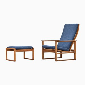 Lounge Chair with Ottoman by Børge Mogensen for Fredericia, 1950s, Set of 2