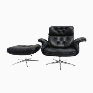 Mid-Century Sessel aus Leder & Furnier mit Fußhocker