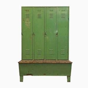 Vintage Metal Locker with Bench