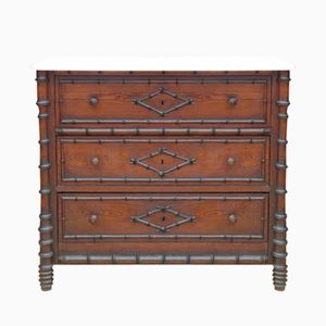 Antique Faux Bamboo Chest of Drawers with Marble Top