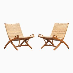 Vintage Foldable Lounge Chairs by Hans Wegner for Johannes Hansen, Set of 2