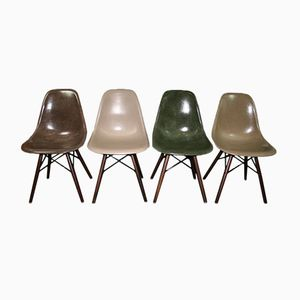 Vintage DSW Fiber Chairs by Charles & Ray Eames for Herman Miller, Set of 4