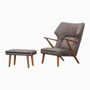 Lounge Chair with Ottoman by Kurt Olsen for Slagelse Mobelvaerk, 1950s