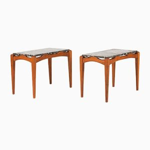 Mid-Century Teak and Marble Side Tables by Carl-Axel Acking, Set of 2