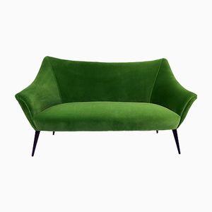 Italian Sofa in Emerald Velvet, 1950s