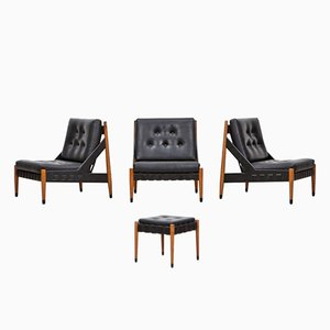 Vintage Lounge Chairs with Ottoman by Egon Eiermann for Wilde & Spieth