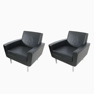 Vintage Black Leather Club Chairs, Set of 2