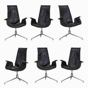 Vintage Leather Armchairs from Kastholm for Kill International, Set of 6