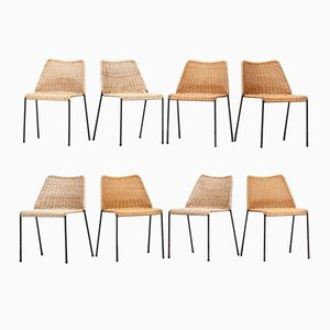 Cane Chairs with a Metal Frame by Herbert Hirche for Wilde & Spieth, Set of 8