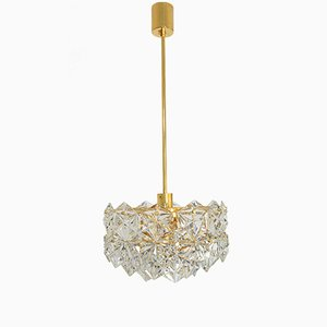 Faceted Crystal Glass and Gilded Brass Chandelier from Kinkeldey, 1970s