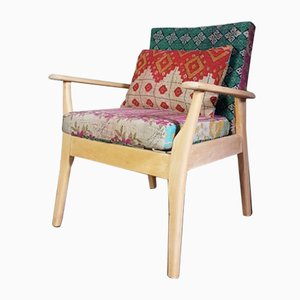Mid-Century Armchair in Vintage Indian Cotton