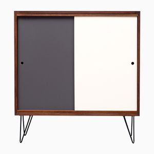 Walnut Veneered Highboard with Multicolored Reversible Doors, 1960s