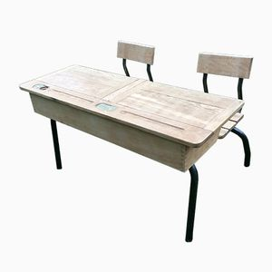 School Desk with Two Seats from Delagrave, 1960s, Set of 3