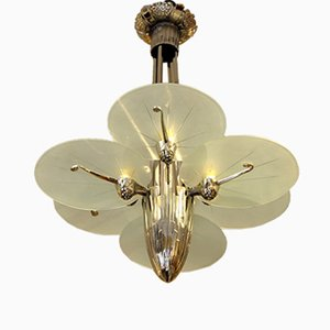 Art Deco Silver Plated Bronze Chandelier with 6 Plates, 1930s