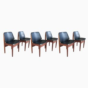 Teak and Vinyl Dining Chairs from Elliots of Newbury, 1960s, Set of 6