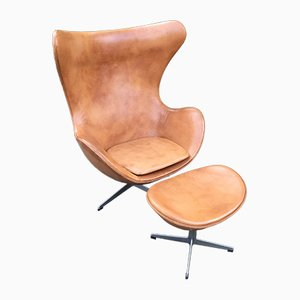 Cognac Leather Egg Chair and Ottoman by Arne Jacobsen for Fritz Hansen, 1960s