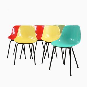 Multicolored Shell Chairs, 1960s, Set of 6