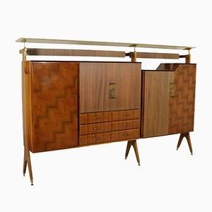 Cabinet with Bar Compartment in Rosewood Veneer, Brass and Marble, 1950s