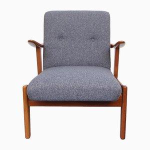 Vintage Teak Sessel in Blaugrau, 1950er