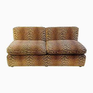Vintage Italian Leopard Velvet Sofa from Cyrus Company