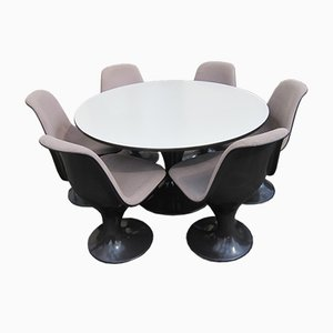 Orbit Dining Table & 6 Swivel Chairs by Mark Farner & Walter Grounds for Herman Miller, 1971
