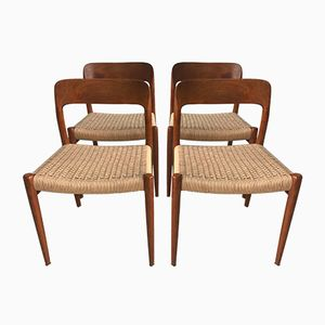 Vintage Teak Chairs from N.O. Moller, Set of 4