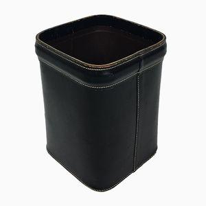 Vintage Leather Stitched Waste Paper Basket