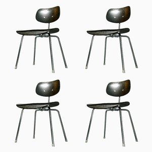 SE 68 Chairs in Black by Egon Eiermann for Wilde+Spieth, 1970s, Set of 4
