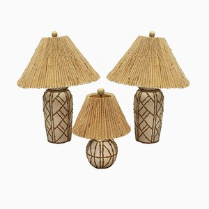 Vintage Hollywood Regency Chinoiserie Faux Bamboo Table Lamps, Set of 3