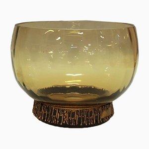 Vintage Amber Glass Bowl with Bronze by Pentti Sarpaneva for Oy Kumela & Turun Hopea