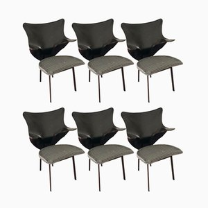 Green Wicker & Black Cowhide Re Chairs by Paolo Deganello for Zanotta, 1990s, Set of 6