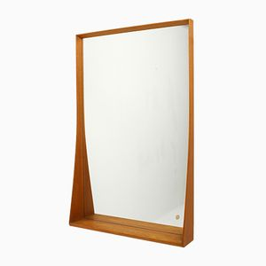 Large Swedish Mirror in Solid Oak from Crystal Asarum, 1960s