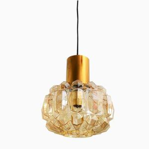 Amber Bubble Glass and Brass Pendant Light or Flush Mount by Helena Tynell for Limburg, 1970s