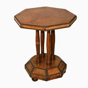 Vintage French Leather Octagon Side Table