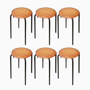 Industrial Plywood Stools from Eromes, 1960s, Set of 6